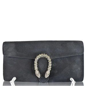 GUCCI Dionysus Small Velvet Clutch Bag Black 42525